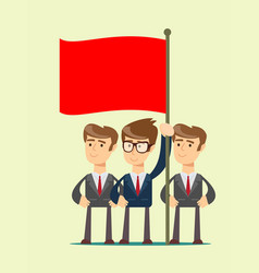 people are holding a red flag vector image