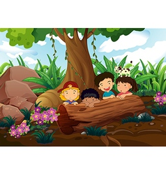 Kids playing at the woods vector image