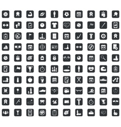 100 sport icons set square black vector