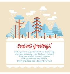 Flat forest scene card with trees vector