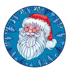Cheerful santa in a blue circle from fir-trees vector