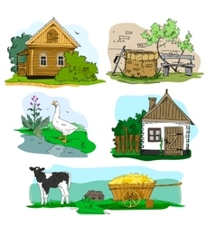 Hand drawn with houses in village animals vector