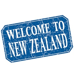 Welcome to new zealand blue square grunge stamp vector