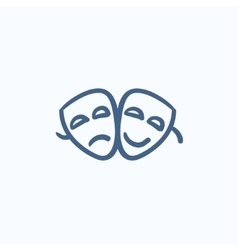 Two theatrical masks sketch icon vector