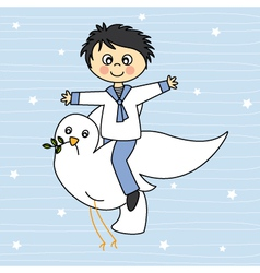 Boy flying with a dove vector