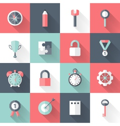 Business flat icons set long shadows vector