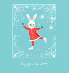 Cartoon figure skater bunny vector
