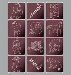 Cat dog goat horse monkey pig rabbit rat vector