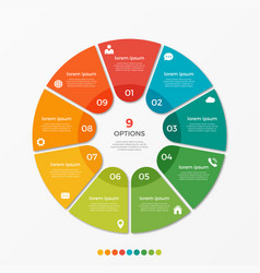 circle chart infographic template with 9 options vector image vector image