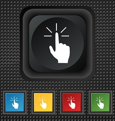 Click here hand icon sign symbol squared colourful vector
