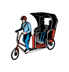 Cycle rickshaw with driver and passenger vector