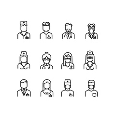 Doctor icons nurse symbols medical professionals vector