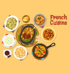 French cuisine famous dinner dishes icon design vector