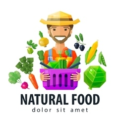 Fresh food logo design template vegetables vector