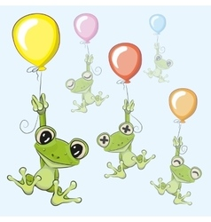Frogs with balloon vector