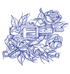 Gun and roses tattoo hand drawing style picture vector