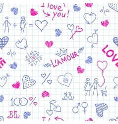 Hand drawn frame from love elements and cute vector image vector image