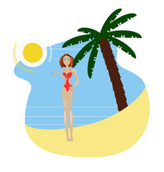 Hot girl on a beach vector