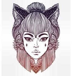 Japanese demon kitsune portrait vector