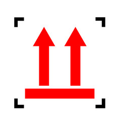 Logistic sign of arrows red icon inside vector