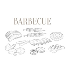 Meat for barbecue isolated hand drawn realistic vector