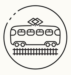 Minimal outline tram icon vector