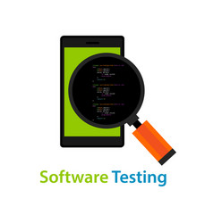 mobile application software testing code vector image vector image