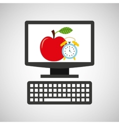 Online education technology clock and apple vector