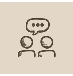 People with speech square above heads sketch icon vector image vector image