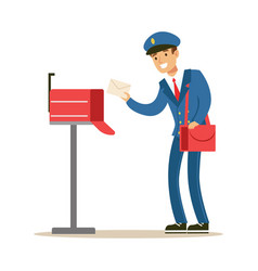 Postman in blue uniform delivering mail putting vector