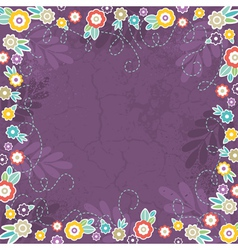 Purple background of color flowers vector