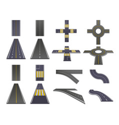 Road parts perspective set vector