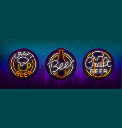 Set of beer logo neon signs logos of emblem in vector