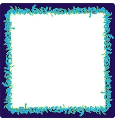 Square rounded frame blue neon graffiti tags vector