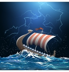 Viking medieval warship in stormy sea vector image vector image