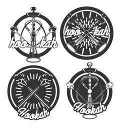 Vintage hookah emblems vector
