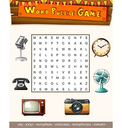 Word puzzle game template with many objects vector image