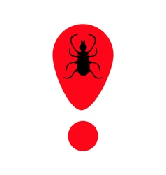 Tick insect silhouette mite deer ticks icon red vector