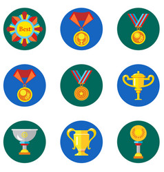 Icons cups awards medals in the flat style vector
