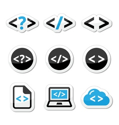 Progrmming code icons set vector image