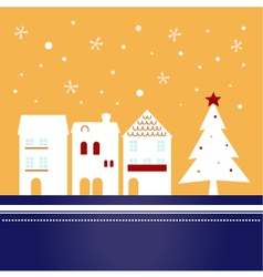 Xmas town on snowing background - vector image