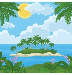 Tropical island with palm and flowers vector