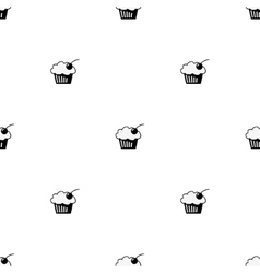 Seamless pattern sketch cupcake vector