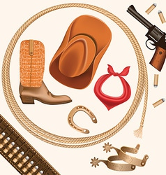 Set of wild west cowboy objects isolated on white vector