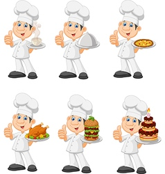 Cartoon chef collection set isolated vector