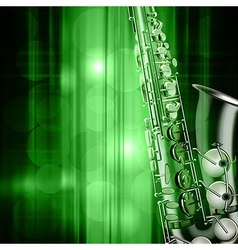 Abstract green music background with saxophone vector