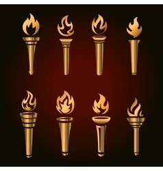 Set of golden torches flaming gold torch simbol vector