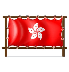 A wooden frame with the flag of Hongkong vector image