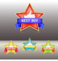 Best buy label with stars and ribbons vector