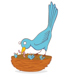 Bird and nestling vector